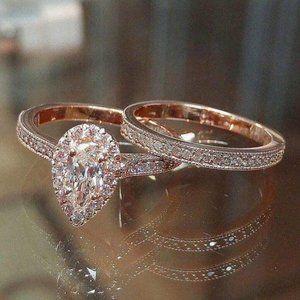 NEW 18K Rose Gold Diamond Halo Teardrop Ring Set
